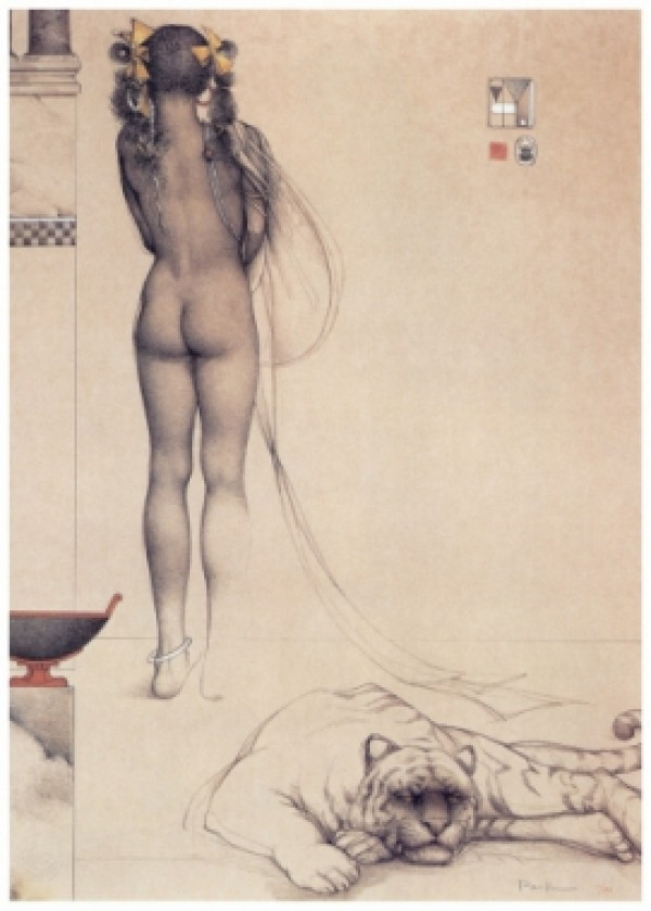 """""""Nubian Girl"""" Hand Pulled Stone Lithograph by Michael Parkes"""