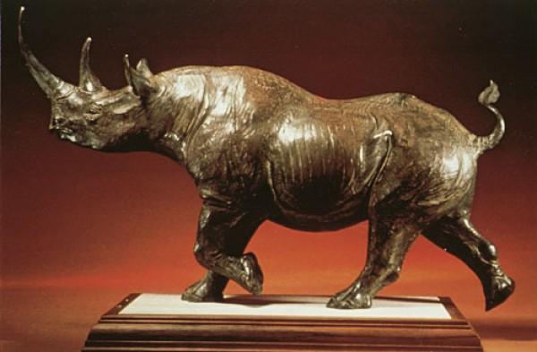 """""""Rhino Alert"""" bronze sculpture by Vince Valdez"""