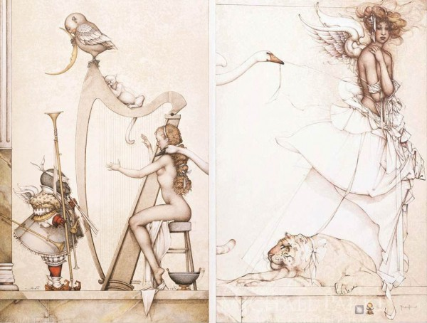 """Moon Harp""  & ""Summer Memories"" Stone Lithographs by Michael Parkes"