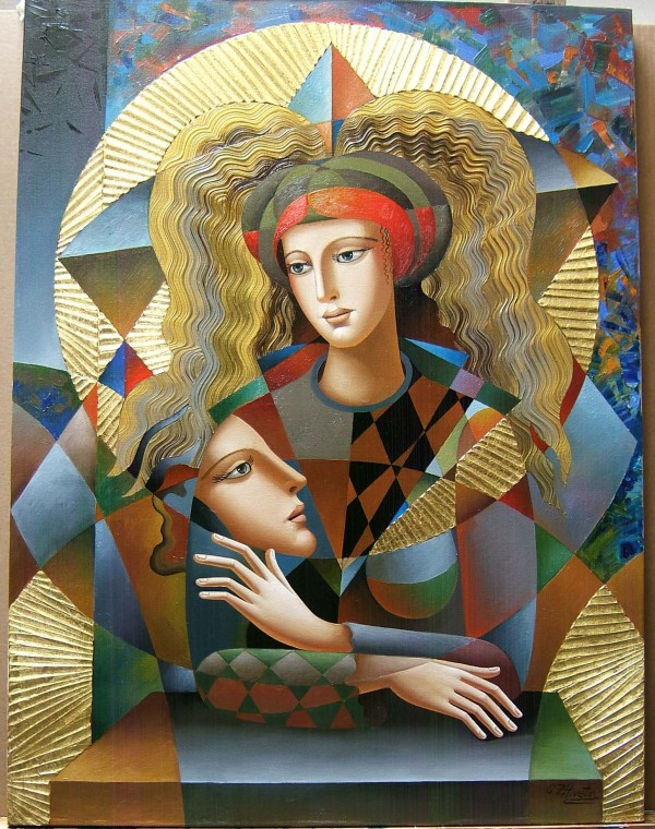 """""""Their Circle"""" Original Mixed Media on Canvas by Oleg Zhiventin"""